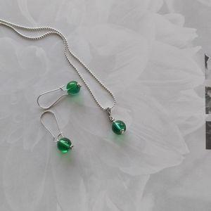 Green Quartz Earrings & Necklace